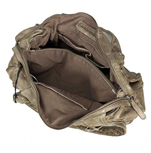 FREDsBRUDER Pick Me Up Schultertasche aus weichem Leder muddy khaki (35 x 21 x 14 cm)