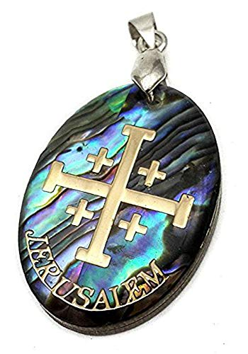 Nazareth Store Jerusalem Cross Abalone Shell Pendant Pearl Golden Cross Holy Land Amulet 1.2