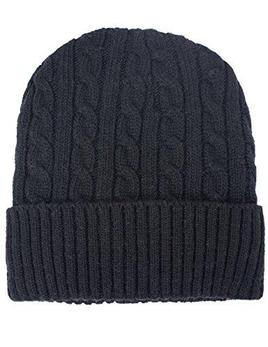 Dahlia Men's Wool Blend Cable Knit Beanie, Velour Fleece Lined, Black