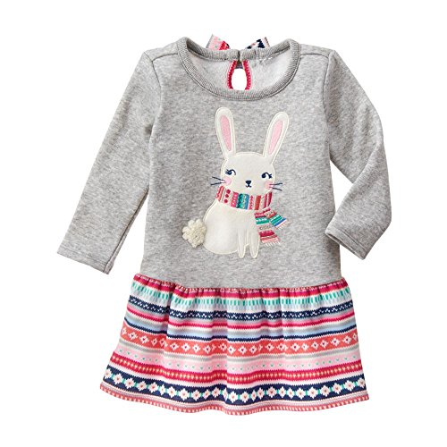 Gymboree Toddler Girls' Grey Bunny Fleece Dress, Cozy Heather, 12-18