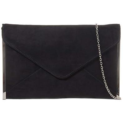 94b2280306 Craze London Women s Plain Suede Envelop Style Wedding Prom Party Clutch Bag
