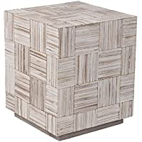 East at Main Avalon Off-White Teakwood Square Accent Table, (20x20x24)