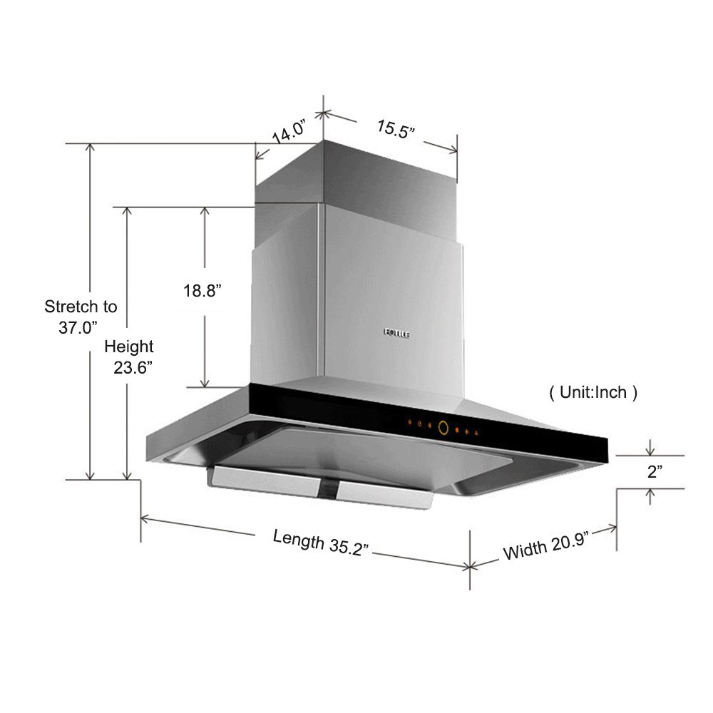 FOTILE EMS9018 36 Wall-Mounted Chimney Stainless Steel Kitchen Range Hood with LED Lights