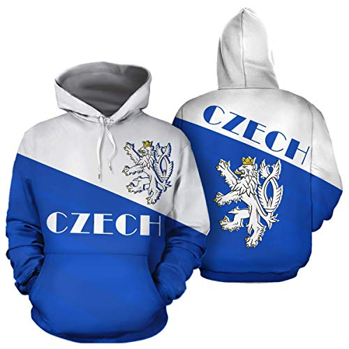 Czech Coat of Arms Czech Republic Flag Unisex Pullover Long Sleeve Hoodies Hooded Sweatshirts with Pocket Birthday Christmas Gifts For Men Women Boys Girls