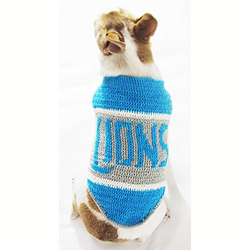 Detroit Lions Dog Jersey Handmade Crochet Football Pet Costume Puppy Sweater NFL Chihuahua Clothes Super Bowl Dk965 Myknitt - Free Shipping (XS)