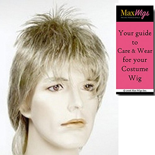 Rod Stewart Costume (Bundle 2 items: Rod Stewart Ziggy Stardust Punk David Bowie Color English Rock Roll Men's Wig Halloween Lacey Costume Color Light Pink, MaxWigs Costume Wig Care Guide)
