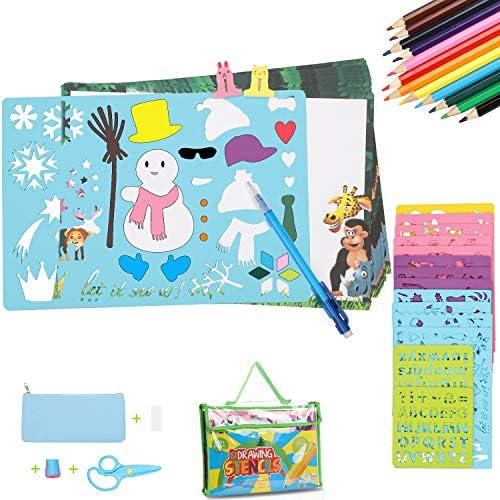 Plantillas de dibujo 54 piezas Sunjoy, Kit de plantillas de dibujo, plantillas de arte plástico 12 grandes arte plástico y 2 pequeños de 280 formas, juguete educativo y regalo perfecto para los