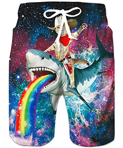 70s Vintage Boardshorts 3D Novelty Captain Cat Riding Rainbow Shark Pattern Surfing Watershorts Tropical Oversize Training Workout Half Pants Quick Dry Bathing Suits Holidays Swimwear for Male