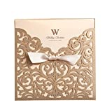 WISHMADE 20 Gold Square Laser Cut Wedding Invitations Pockets with Envelopes, Customized Birthday Invites with Bowknot Card Stock for Engagement Party Baby Shower Bridal Shower