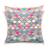ALAZA Rainbow Mermaid Scale Cotton Pillowcase 18 X 18 Inches Twin Sides, Colorful Fish Scale Pillow Case Sham Cover Protector Decorative for Home Hotel Couch Ded