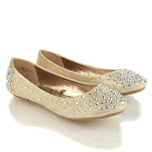 Ballerine Da Donna A Punta Tonda Con Borchie Strass Iridescenti Su Glitter Rosegold Rosegold