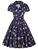 Juniors Retro Style Birds Floral Dress Fit and Flare Wiggle Dress Dark Blue(M) BP161