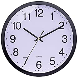 BELIFE 12 Non-Ticking Silent Wall Clock with Conventional Design for Living Room Large Kitchen Wall Clock Battery Operated (Black)