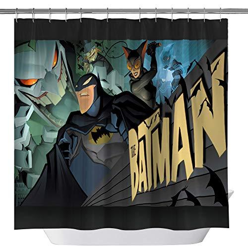 Batman Movie Shower Curtain,Catwoman Joker Custom Made Waterproof Polyester Fabric Shower Curtain for Bathroom, Bathroom Accessories with Hooks, 71X 71 -