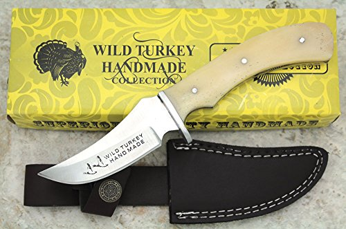 Wild Turkey Handmade Collection Full Tang Natural Camel Bone Fixed Blade Hunting Knife w/ Leather Sheath Outdoors Fishing Camping