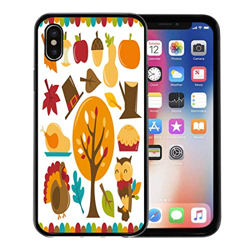 (Emvency Phone Case for Apple iPhone Xs case,Cartoon of Sexy Witch Holding Halloween Pumpkin and Broom in Front Blank White Scroll for iPhone X Case,Rubber Border Protective Case,Black)