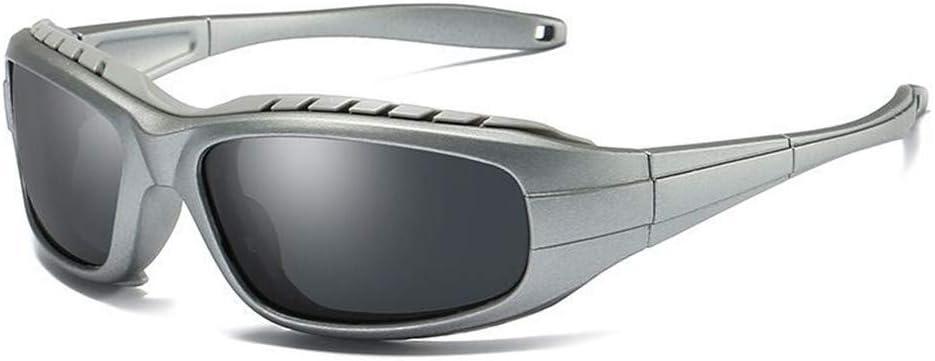 WZNING Al aire libre gafas de sol polarizadas protección UV de los hombres gafas ciclismo for protegerse de las tormentas de arena Deportes de la lente gafas de sol gafas ciclismo (Color : Silver)