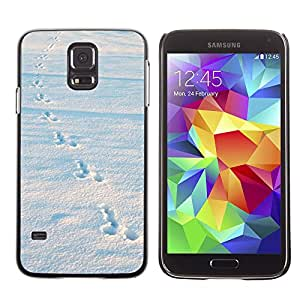 Hot Style Cell Phone PC Hard Case Cover // M00135441 Winter Snow Rabbit Tracks // Samsung Galaxy S5 S V SV i9600 (Not Fits S5 ACTIVE)
