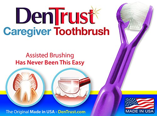 DenTrust 3-Sided Toothbrush :: Caregiver / Assisted Care :: Easy to Use Wrap-Around Design :: Made In USA