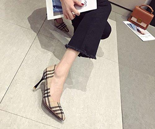 scarpe Alla 35 Scarpe alti khaki Con con Donna Bene scamosciata unico Un trentasei Da in Scarpe pelle banchetti Traliccio Moda Ajunr 9cm tacchi Sandali ladies tqS88ZxO