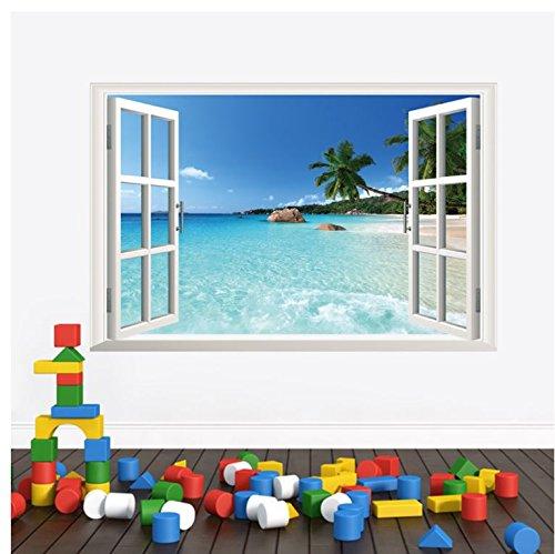 COVPAW Wall Stickers US Stock Decor Huge 3D Window Hawaii Beach Island Living Room Bedroom Decal Lounge Lobby