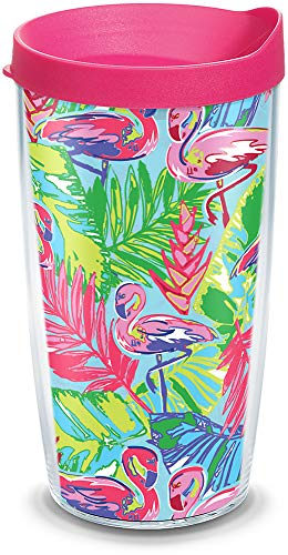 Tervis 1316118 Bright Flamingo Pattern Insulated Tumbler with Wrap and Lid, 16 oz - Tritan, Clear