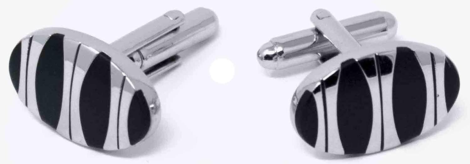 Stephanie Imports Men's Platinum-Plated Cufflinks in Gift Box