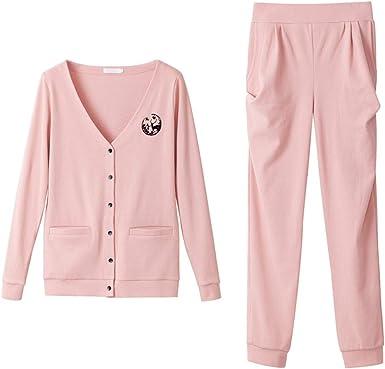 Pijama Pijamas Conjunto De Chaqueta De Punto con Cuello En V Y Manga Larga De Algodón For Mujer Pijama de Mujer: Amazon.es: Ropa y accesorios