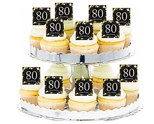 Happy 80th Birthday Black & Gold Cupcake / Food / Appetizer Decoration Topper Picks - 12pk