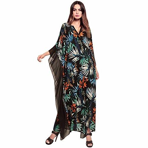 Ed Abbigliamento Collare Stampati Estate Abito 4 Primavera Vestire Casual V Ladies' YUCH Irregolare wq0Ivv