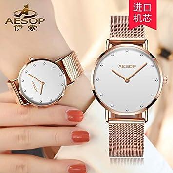 BIWNXAQ Reloj para Mujer Tendencia de la Moda Simple para Mujer Reloj Impermeable, Drill Point White: Amazon.es: Deportes y aire libre