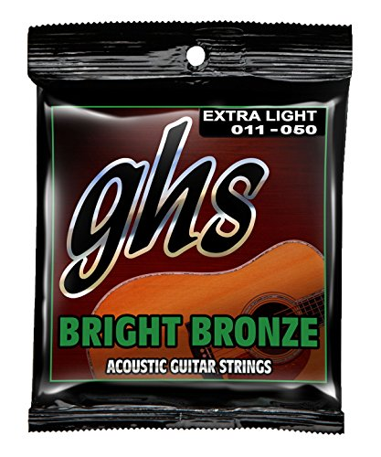 GHS Strings BB20X Bright Bronze, 80/20 Copper-Zinc Alloy, Acoustic Guitar, Extra Light (Ghs Bright Bronze Acoustic Guitar)