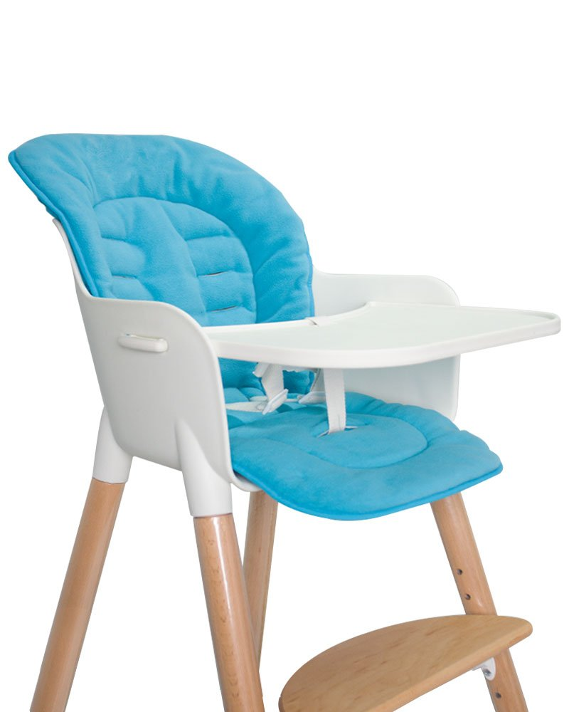 Asunflower Baby High Chair Cushion, Soft Cotton Infant Stroller Covers Padding with Ties, Blue
