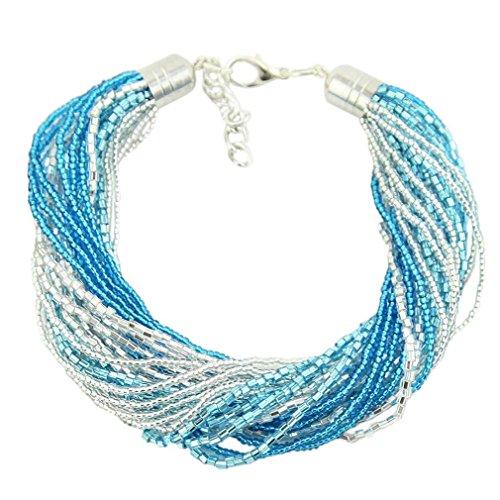 GlassOfVenice Murano Glass Gloriosa 24 Strand Seed Bead Bracelet - Silver Aqua ()