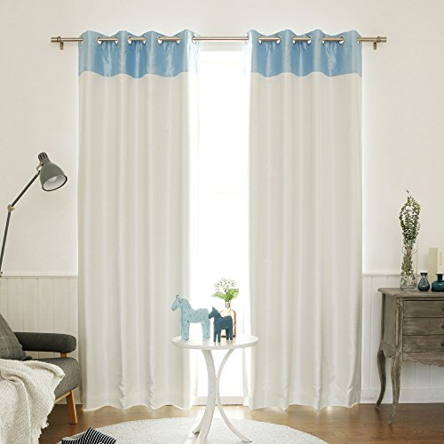 Cheap Best Home Fashion Topborder Faux Silk Blackout Curtain – Stainless Steel Nickel Grommet Top  – Sky Blue/Ivory – 52″W X 84″L – (1 Panel)