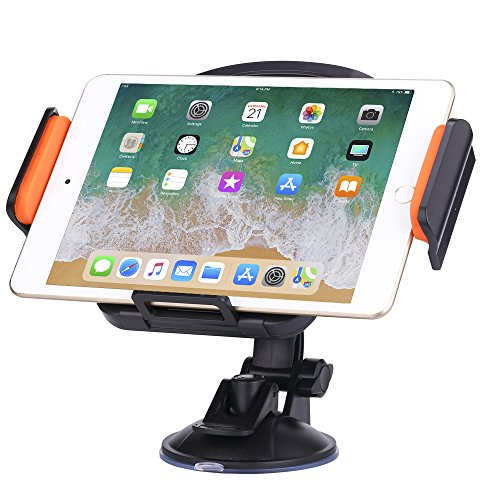 Universal Windshield Dashboard Car Tablet Holder Mount Stand Cradle for 7-11 Inch Tablet GPS Apple iPad Mini 4/3/2/1, iPad Air/Air 2/Pro 9.7/2017 New iPad, Samsung Galaxy Tabs and More (Black/Orange)