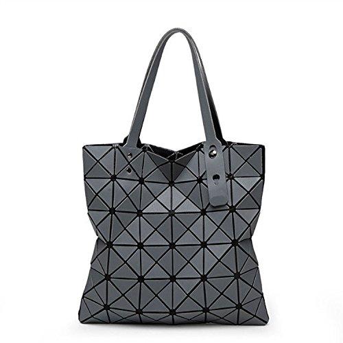 MYLL Bolso De Hombro Plegable De La Señora Geometric Ling Grid De La Moda Casual Del Bolso De Las Mujeres,DarkGray Darkgray