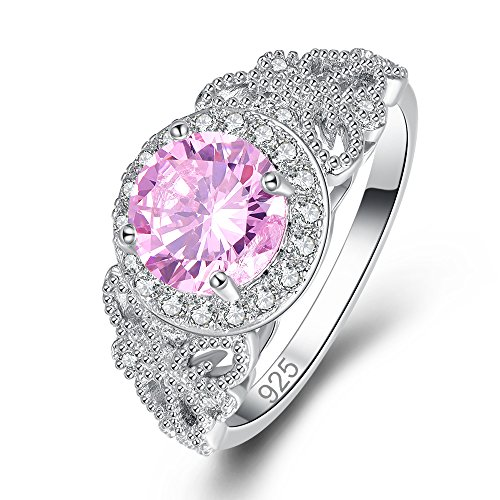 Veunora Elegant 925 Sterling Silver Created 8mm Pink Topaz Filled Ring Size 9 ()