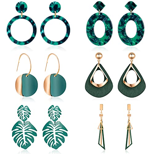 CHANBO 6 Pairs Korean Statement Earrings for Women Green Cute Arcylic Geometric Dangle Drop Gold Earings 2021 Fashion Jewelry
