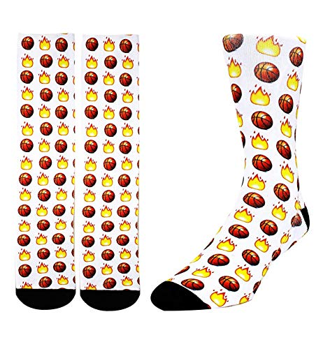 Zmart Unisex 3D Print Novelty Funny Crazy Colorful Athletic Basketball Sports Crew Tube Socks