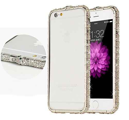Mosaic Quality Show Silver (iPhone 8 Plus Case /iPhone 7 Plus Case/iPhone 6 Plus Case /iPhone 6s Plus Case Crystals Rhinestone Bling Metal Frame Bumper Sparkle Jeweled 100% Handcrafted with Shining Diamond (Snake-Silver-5.5inch))