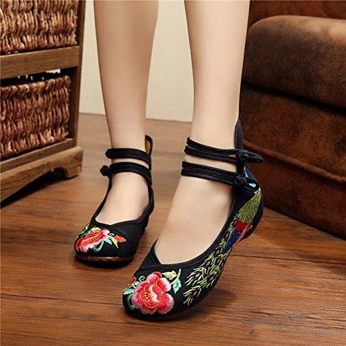 nuove scarpe viaggio 2018 primavera da il scarpe tessuto per CAI l'estate Scarpe vento da e all'interno Nero da scarpe libero Altezza donna signore piazza in nazionale ballo tempo ricamate Z6qzZAwB