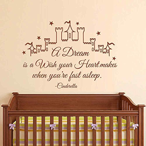 BATTOO A Dream is a Wish your Heart makes when you're fast a sleep- Girls Room Castle Vinyl Wall Decal Sticker(White, 16