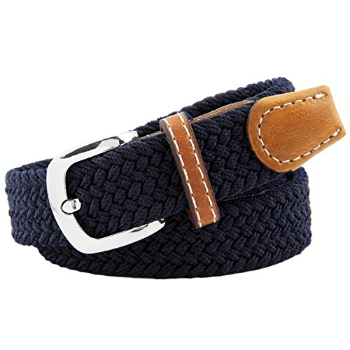 Moonsix Elastic Belts for Women,PU Leather Casual Skinny Braided Stretch Belt Pin (Skinny Braided Belt)