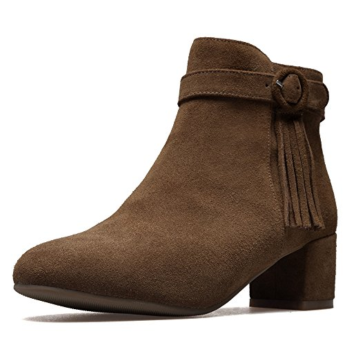 Leather Handmade Ankle Toe Suede Heel Round Women's Cute Dressy Seven Brown Boots Chunky Trendy Nine wfzFqEnw