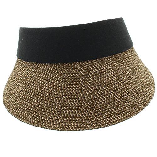 Sports Cotton Twill Visor With Big Brim UPF 50+ Rating (One Size Fits Most, Black & Brown (Organic Cotton Visor)