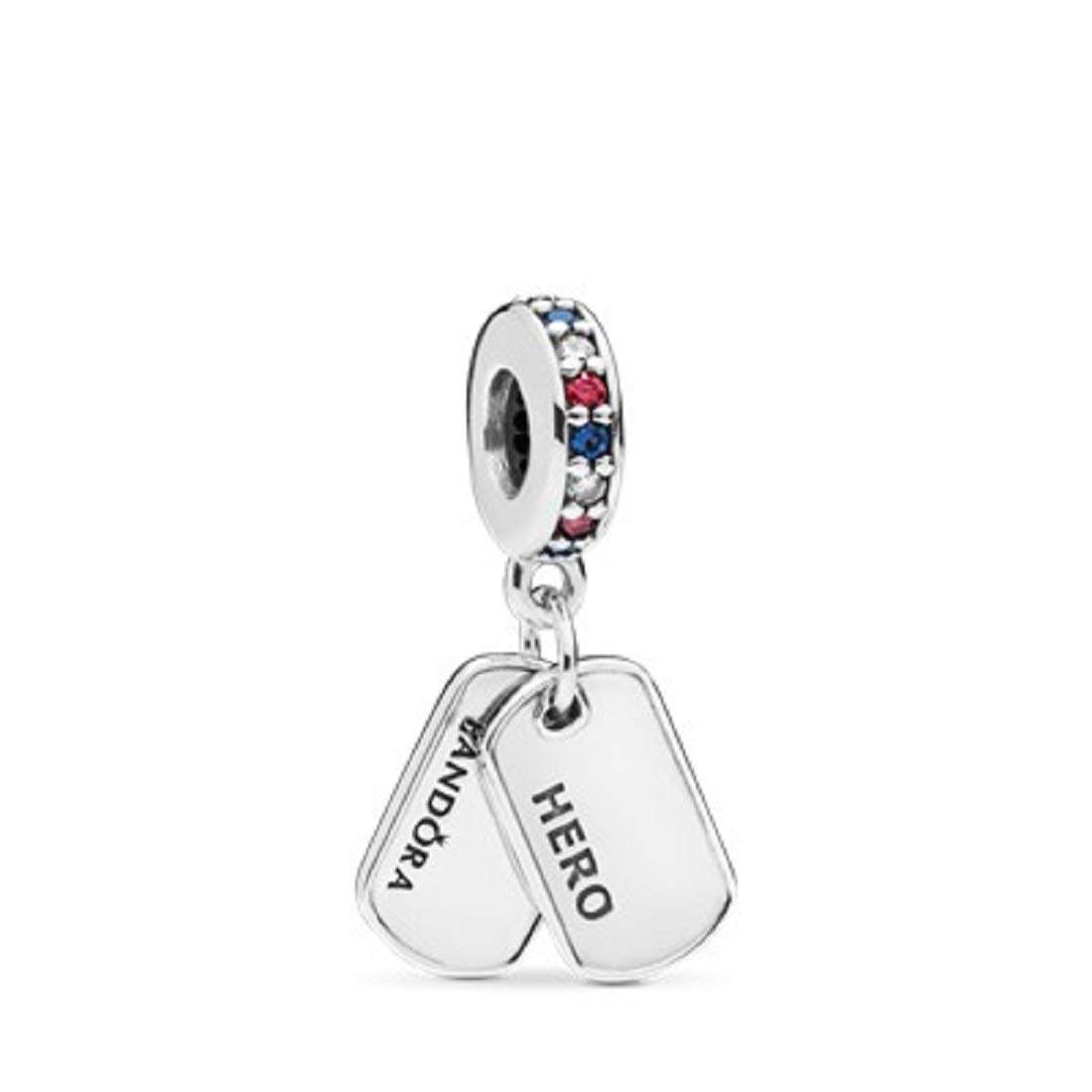 Hero Dog Tag Dangle Charm 797659CZRMX ~Multi-Colored CZ and Blue Crystals