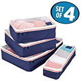mDesign Versatile Travel Storage Organizer Cubes: Mesh Tops, Integrated Handles and Two-Way Zippers: Perfect for Packing Luggage/Suitcase and Carry-On, Set of 4, Navy Blue/White Trim, Orange Zipper
