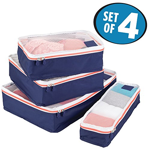 mDesign Versatile Travel Storage Organizer Cubes: Mesh Tops, Integrated Handles and Two-Way Zippers: Perfect for Packing Luggage/Suitcase and Carry-On, Set of 4, Navy Blue/White Trim, Orange Zipper by mDesign