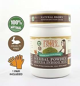Pride Of India Henna & Indigo Mix Hair Color Powder Brown Color, Half Pound (8Oz 227Gm) 1 Pair Gloves